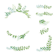 Floral Frame Collection And Elements. Set Of Cute Retro Flowers Arranged Un A Shape Of The Wreath.