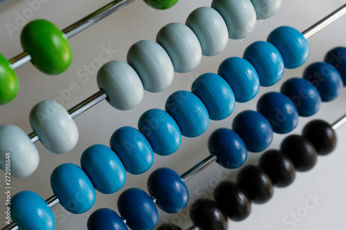 Abacus with green blue white balack beads Canvas Print