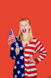 canvas print picture - Make america great again! Independence Day. American flag. America. United states. USA. United states of America. US. July 4th. Summer. Excited woman with little American flag.