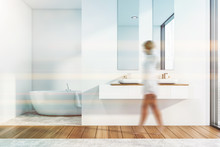 Woman In Stylish Bathroom Inte...