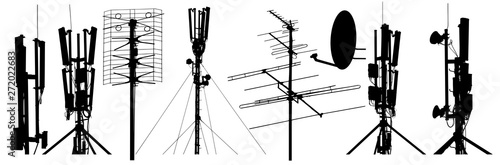 Foto Radio antenna silhouette set vector. Isolated on white background