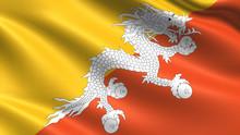 Bhutan Flag, With Waving Fabri...