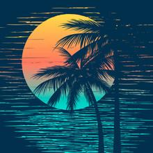 Sunset On Tropical Beach With Palm Tree. Sun On Evening Sea