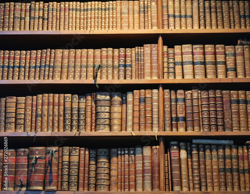 Poster Bibliotheque old books on wooden shelf