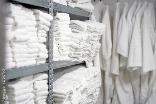 Fototapeta  Hotel linen cleaning services. Hotel laundry