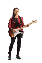 Young Female With An Electric Guitar Posing