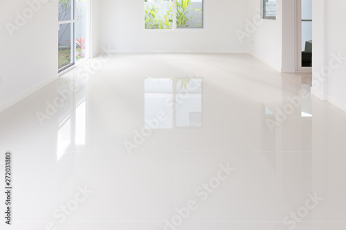 Carta da parati White tile floor background in perspective view
