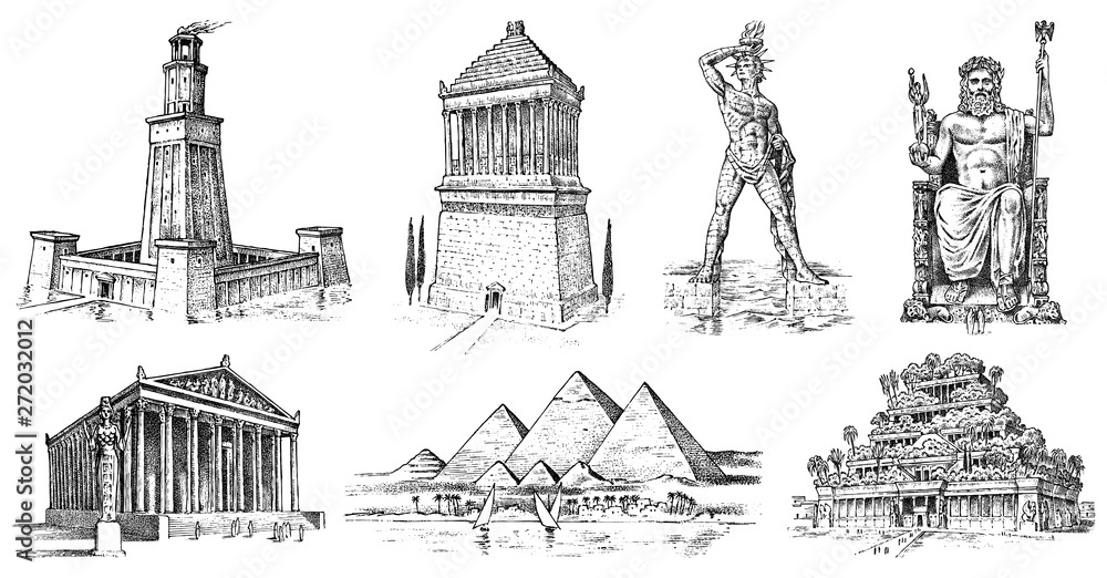 Fototapety, obrazy: Seven Wonders of the Ancient World. Pyramid of Giza, Hanging Gardens of Babylon, Temple of Artemis at Ephesus, Zeus at Olympia, Mausoleum at Halicarnassus, Colossus of Rhodes, Lighthouse of Alexandria