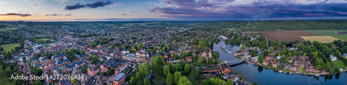Dramatic aerial panoramic view of the beautiful town of Marlow in Buckinghamshire UK, captured after a rain storm at dusk