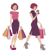 Retro Style Fashion Illustration. Beautiful Women With Shopping Bags In Classic And Elegant Vintage Dresses. Vector Drawing Isolated On White Background.