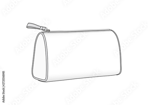 cosmetic bag, daily zip pouch vector illustration sketch template Wallpaper Mural