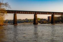 Railroad Bridge Over The Chattahoochee River In Phenix City Alabama