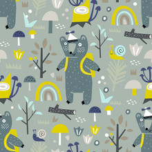 Baby Seamless Pattern With Forest, Trees And Bear. Vector Texture In Childish Style Great For Fabric And Textile, Wallpapers, Backgrounds. Pastel Colors.