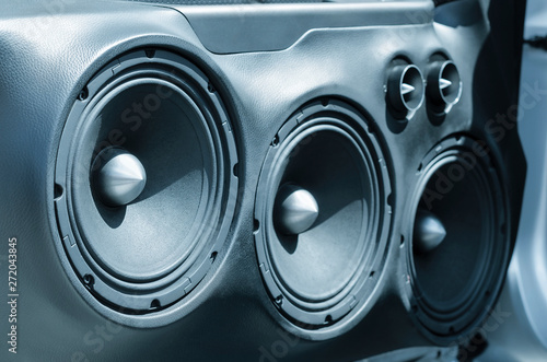 Car Audio System Speakers in the Open Door. - 272043845
