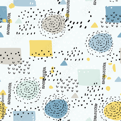 Seamless pattern with simple shapes Poster Mural XXL