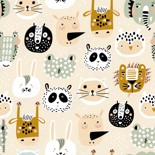 Baby seamless pattern with hand drawn animals Fotobehang