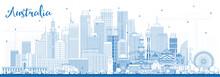 Outline Australia City Skyline With Blue Buildings.