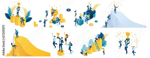 Isometric set of concepts on the theme of success, winning a prize, winning a vi Poster Mural XXL
