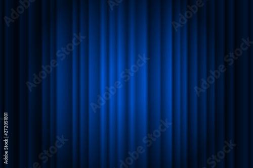 Fotografie, Obraz  Closed silky luxury blue curtain stage background spotlight beam illuminated