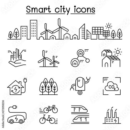 Fototapeta Smart city, Sustainable town, Eco friendly city icon set in thin line style obraz na płótnie