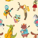 Fototapeta Fototapety na ścianę do pokoju dziecięcego - Animal musicians pattern. Vector seamless texture with cute animal band in cartoon style.