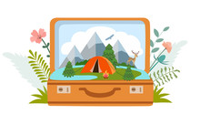 Summer Camp, Camping, Travel, Tourism With Open Suitcase, Modern Flat Style. Vector Illustration.