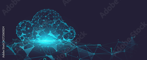 Data cloud storage network from lines, triangles and particle style design. Illustration vector