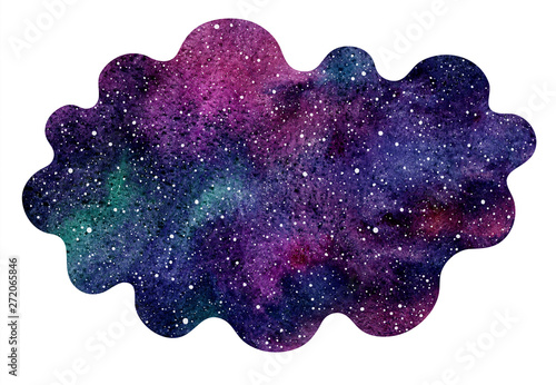Fotografija  Colorful cosmic, cosmos, space watercolor background isolated on white