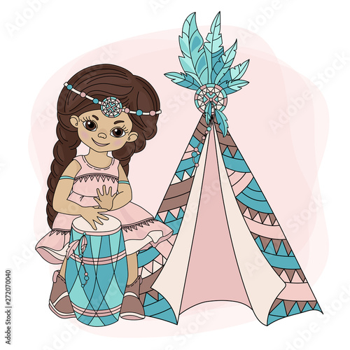 Cuadros en Lienzo GIRL WIGWAM American Native Pocahontas Indian Princess Home Vector Illustration