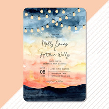 Wedding Invitation With String Light And Landscape Watercolor Background