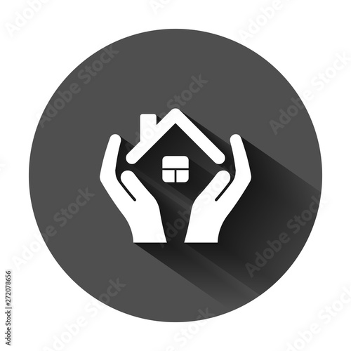 Home care icon in flat style. Hand hold house vector illustration on black round background with long shadow. Building quality business concept.