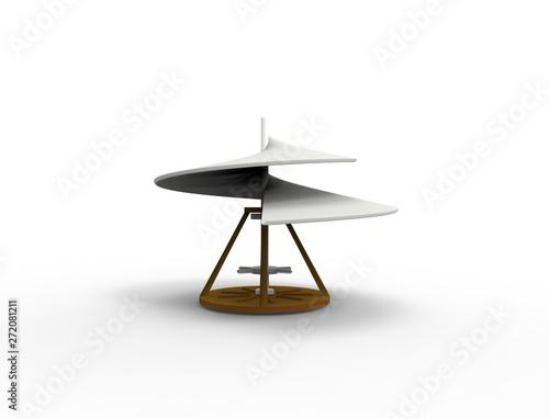 3d rendering Leonardo Da Vinci airscrew aerial screw isolated in white Canvas Print