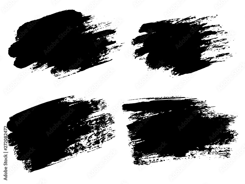 Fototapeta Vector black paint, ink brush stroke, brush, line or texture. Di