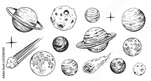 Fototapeta Set of space objects: planets, stars. Hand drawn vector