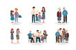 Set of happy family, illustration of groups different families.
