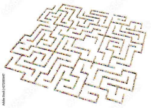 Valokuvatapetti Cartoon Crowd, Labyrinth Shape