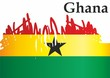 Flag of Ghana, Republic of Ghana. Template for award design, an official document with the flag of Ghana. Bright, colorful vector illustration.