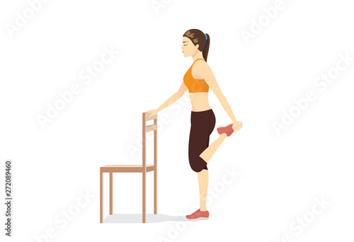 Obraz Woman doing Kneeling Quad Stretch with a chair. Illustration about simple Stretching leg muscle. - fototapety do salonu