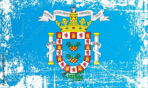 Flag of Melilla, Autonomous city, Kingdom of Spain. Wrinkled dirty spots. Can be used for design, stickers, souvenirs