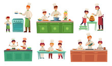 Cooks Childrens. Kids Baking Or Cooking Food, Chief Children Classes And Cook With Child Vector Illustration Set