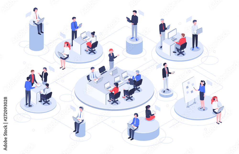 Fototapeta Isometric virtual office. Business people working together, technology companies workspace and teamwork platforms vector illustration