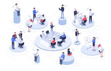 Isometric Virtual Office. Business People Working Together, Technology Companies Workspace And Teamwork Platforms Vector Illustration