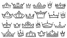 Hand Drawn Crown. Luxury Crowns Sketch, Queen Or King Coronation Doodle And Majestic Princess Tiara Isolated Vector Illustration Set