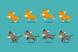 Fototapeta Fototapety na ścianę do pokoju dziecięcego - Vector cartoon tabby cats running step for design.