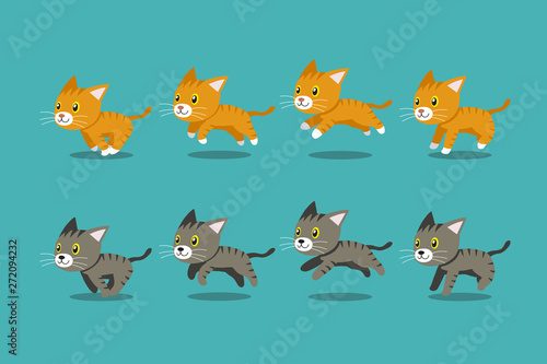 Vector cartoon tabby cats running step for design.