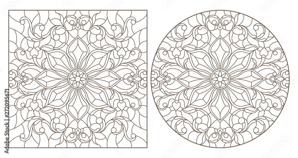 Set of contour illustrations with abstract floral patterns, round and square image, dark contours on white background
