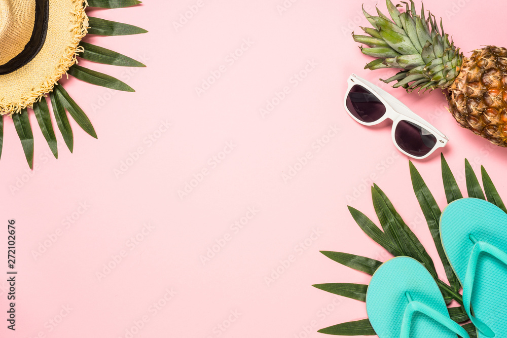 Fototapety, obrazy: Summer flat lay background on pink.