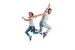 Leinwanddruck Bild - Couple jumping during training