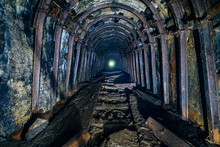 Dark Abandoned Coal Mine With ...
