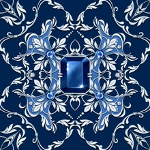 Seamless Baroque Pattern With Blue Gems And Silver Scrolls